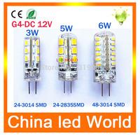 High Power G4 led lamp 3W 5W 6W DC 12V Led bulb SMD 2835 LED light 360 Beam Angle LED Spotlight Replace 30/60W halogen lamps