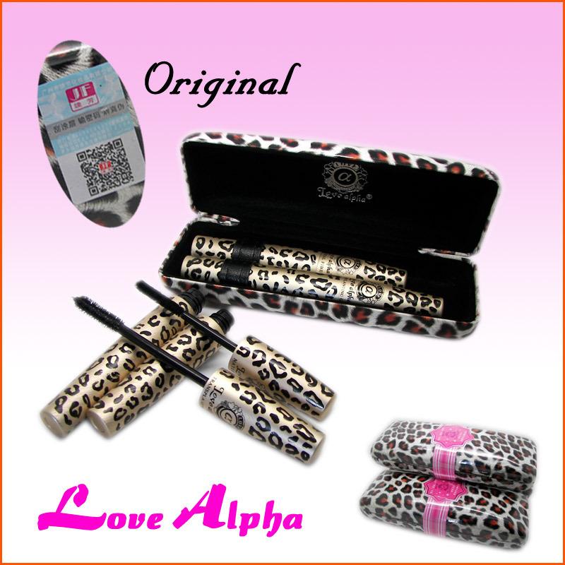 1Set=2Pcs Wild Leopard Mascara 3D FIBER LASHES Love Alpha Waterproof Transplanting Gel&Natural Fibers Make Up Cosmetics Package(China (Mainland))