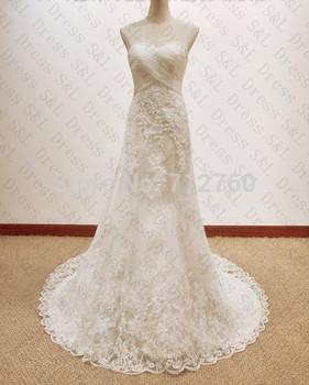 Новый длинные без бретелек белый кружева свадебное платье свадебные платья под 200 с бесплатным кружева перчатки