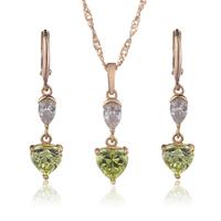 18K Gold Plated Jewelry Set Sweet Heart Jewelry Sets For Women Casamento Pendant Necklace CZ Zirconia Earrings Fashion 4S18K-36