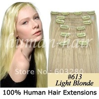 "15""18""20""22""24""26""28"" remy clip on human hair extension #613 light blonde color 70g/80g/100g/120gram per set"