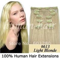 "15""18""20""22""24""26""28"" remy clip on human hair extension #613 light blonde color 70g/80g/100g/120gram per set"