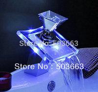 Novel Led Faucet Bathroom Basin Mixer Tap Chrome 3 Colors Brass Faucet Glass Faucet L-254 Faucet