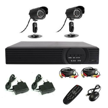 DVR WITH HDMI,4CH H.264 CCTV Standalone DVR 2 CMOS IR Waterproof Outdoor indoor Camera CCTV system dvr kit