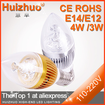 [Huizhuo Lighting]10pcs/lot High Power E12/E14 3W LED Candle Bulb Light Silver Or Golden LED Bulb For Chandelier