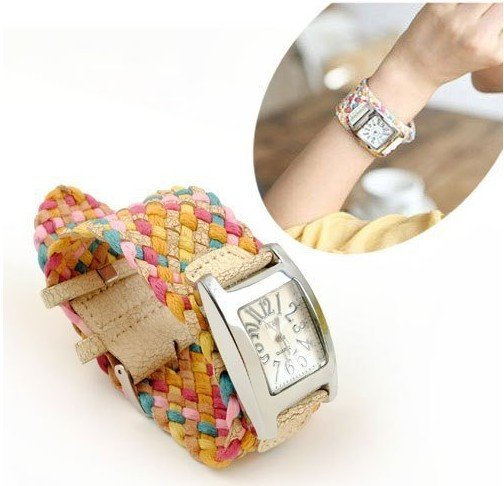 best hot korea rope woven cracked leather women watch knit band wide belt rainbow ladies dress wristwatch 7 colors retail free(China (Mainland))