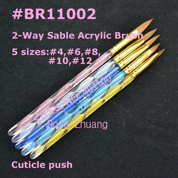 10sets/lot 5 pcs 2-Ways Sable Acrylic Nail Art Brushes Pen Nail Brushes Cuticle Pusher Wholesales SKU:G0054X
