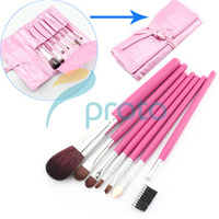 China Post Freeshipping-NEW 7 pcs make up Cosmetic Brush Set with soft roll-up pink case Dropshipping [Retail] SKU:M0086