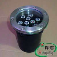 Free shipping mbedded 12V 9X1W stainless steel led pool light, high power led underwater light CE & ROHS,2 year warranty
