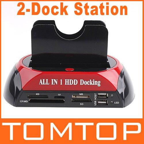 """2.5"""" 3.5"""" SATA / IDE 2 Double - Dock HDD Docking Station e- SATA / Hub External Storage Enclosure Parts , Free / Drop Shipping(China (Mainland))"""