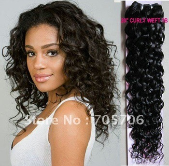 "Free Shipping 20"" #1B 100g CURLY Machine Weft Hair Extensions 100% Brazilian Remy Human Hair"