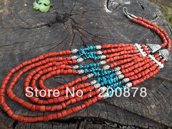 TNL381 Amazing Tibetan Coral Turquoise multi-layer beaded necklace,colorful BOHO 2012 fashion(China (Mainland))