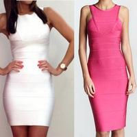 Style NO H094 White Sleeveless Evening Dress Party Prom Bandage Dress