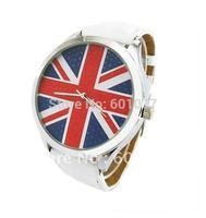 UK Flag Women Men Wholesale fashion leather strap quartz watch,Dress wrist watches Ladies w10