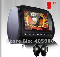 "DIGITAL SCREEN 9"" Auto car headrest dvd player with Zipper Cover+USB+SD+32bit Games+IR/FM transmitter, ONE IR Headphone"