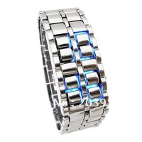 Free shipping!hot on sale,2012,silver digital lcd Iron SHARP Lava samurai metal fashion wrist watches for mens ladies woman w136