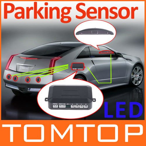 [Unbeatable At $X.99] Car LED Parking Reverse Backup Radar Monitor System with Backlight Display+4 Sensors 6 colors Wholesale(China (Mainland))