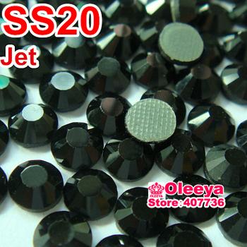 Free Shipping !MC hotfix rhinestone Jet color ss20 (4.8-5.0mm) 1440pcs/bag/lot ,Flat back with gule ,Diy iron-on crystal stones!