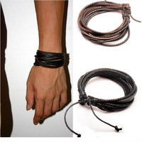 2013 New Arrival Wrap Leather Bracelet Black and Brown Braided Rope for Men and Women Charms Fashion Man Jewelry PI0246