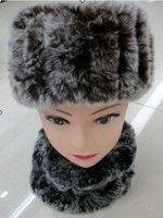 Autumn Winter Women's Genuine Natural Knitted Rex Rabbit Fur Headband Lady Neckwear Scarf QD5449