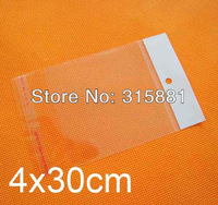 4x30cm Self Adhesive Seal plastic Bags, hanging hole poly bags,Opp bags, 1000pcs/lot free shipping