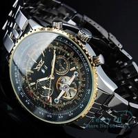 Luxury AUTO Mens Multi Function Watch Black Mechanical Watch Wrist watch Xmas Gift Free Ship