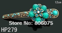 wholesale women hair jewelry flower rhinestone alloy hair clips Hair Accessories Free shipping 12pcs lot mixed color  HP279