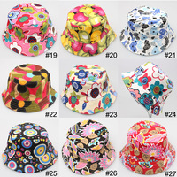 FREE SHIPMENT, children girls sun hat summer hat cartoon design printed cute picture , 27 design color