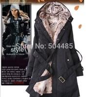 Faux fur lining women's fur Hoodies Ladies coats winter warm long coat jacket cotton clothes thermal parkas Free Shipping 811