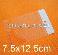 Self Adhesive Seal hanging hole pbags,7.5x12.5cm ,1000pcs/lot free shipping