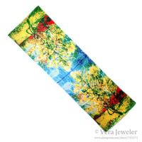"100% Satin Charmeuse Silk Scarf Shawl Large Oblong Womens Scarf Van Gogh's ""Peach Tree in Bloom"" Hand Rolled Edges 55 x 167 cm"