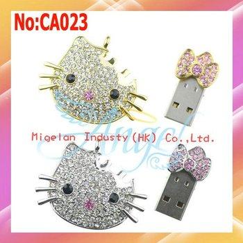 Wholesale 100% real capacity 1GB 2GB 4GB 8GB 16GB 32GB 64GB jewelry Hello Kitty usb flash drive with original chip #CA023