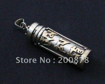 TGB088  Tibetan White Metal Copper SilverTone Mantras Prayer box,Tibet Gau amulets pendant,Cylinder Locket jewelry