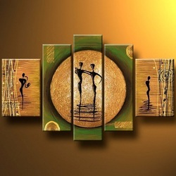 100% hand-painted 5 piece canvas art decoration home abstract group painting presents(China (Mainland))