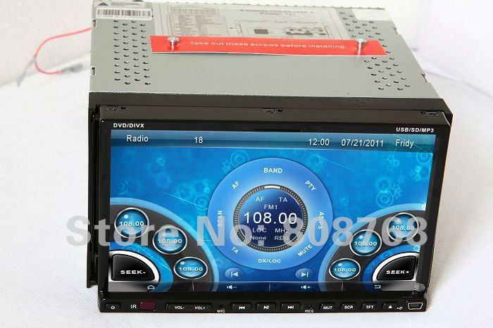 "7"" Double Din In Dash Motorized Car DVD Player Auto Entertainment System with GPS Navigation Radio Bluetooth RDS TV Stereo Audio(China (Mainland))"