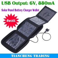 Free Shipping! wholesale 3pcs 4 watt foldable solar charger bag, portable solar charger, Solar Charger Package