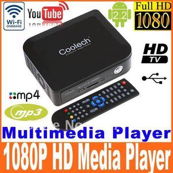 Android 2.2 1080P HD Media player Streaming Multi Media Player TV WiFi Youtube HDMI USB SD MMC RMVB video player