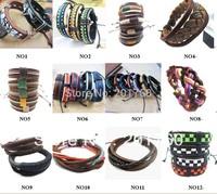 wholesale fashion knit cowhide manual Leather Bracelets Wrap Bracelets Bangles mix order 100pcs/lot  free shiping