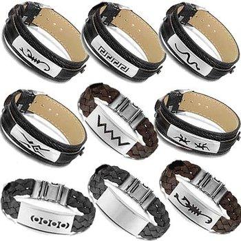 OPK JEWELRY 20 pcs/lot MIXED ORDER Charm Bracelet PU Leather/Silicone cuff bangle steel wristband FREE SHIPPING