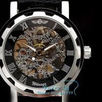 Winner Mens Black Skeleton Hand Wind Mechanical Watch PU Leather Strap Wrist Watch Christmas Gift Free Ship