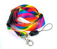 """Rainbow Stripes"" Key Chain Necklace Polyester lanyard Mobile Lanyard ID Badge Holder Keys ID Neck Straps 12pcs/lot wholesale"