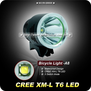 by dhl or ems 5pieces XM-L T6 Bike Light HeadLamp 1600 Lm 3 Mode Waterproof Bicycle Front Light LED +8.4v 6400mAh +Charger