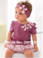 S101# wholesales 5sets/lot Baby costume, Baby bow headband + shirt+ pant 3pcs/set free shipment