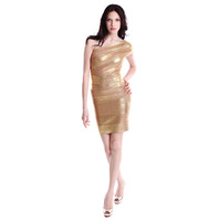 Free Shipping Best Quality on the market!   Gold Foil One Shoulder Evening Dress  H107 Sexy Ladies Bandage Dress