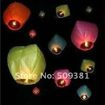 250 pcs/Lot, Free Shipping, Promotion Chinese Conventional Festival Flying Sky Lanterns, Wishing Lanterns. 6-8 Colour.