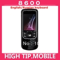 8600,Unlocked Original 8600 Luna Mobile cell phone english russian keyboard&amp;language  Free shipping
