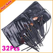 Wholesale 32 pcs Professional Makeup Brush Sets Cosmetic Brushes kit + Black Leather Case, Free Shipping HH0331