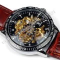 Hot !  Luxury Black Skeleton Dial Automatic Men's Mechanical IK Brand Hand Watch
