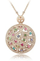 Austrian Crystal Vintage Necklaces Pendants Rose Gold Plated  Fashion Jewelry 2014 Necklaces Women  3541