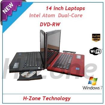"Freeshipping 14.1"" LED laptop with Intel Atom Dual D2500 1.86Ghz CPU 2GB RAM&320GB HDD DVD-RW 1.3MP webcam HDMI Metal silk shell"